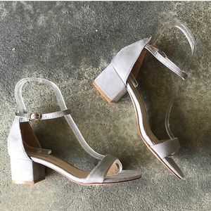 Eldred Soft Gray Suede Ankle Strap Low Block Heel